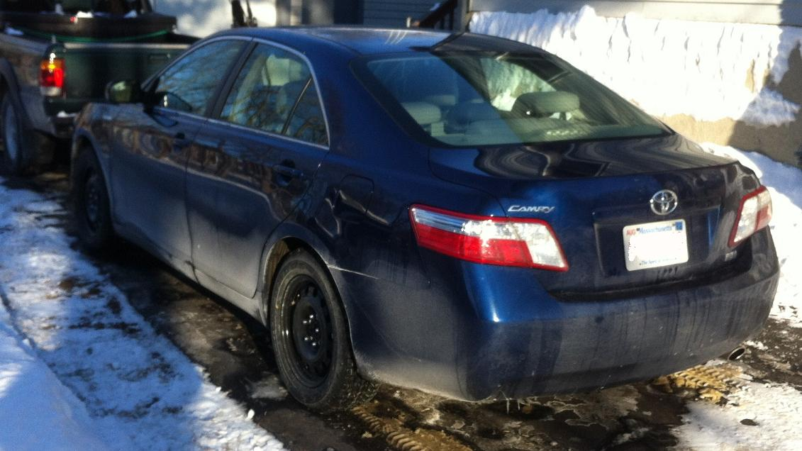 Here Is The Camry With Its Winter Feet On No There Are Dents Just Sheet Metal Curves And Lighting